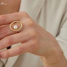 AOMU anillo de Metal de moda para regalo de chica para mujer, joyería geométrica, anillo redondo, accesorios para sesión en la calle, anillo con perla de imitación