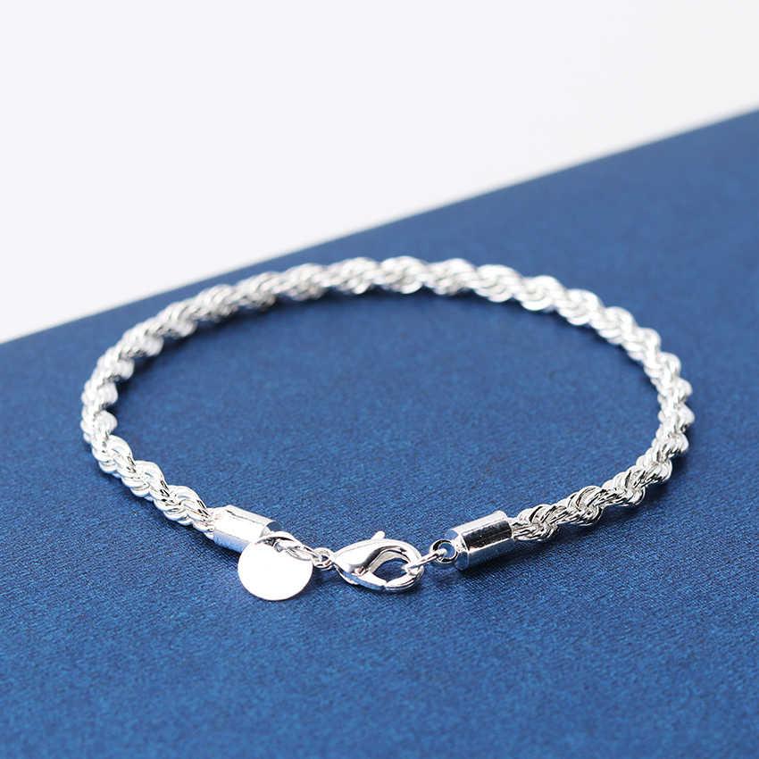 1 шт Высокое качество посеребренные браслеты 20 см вспышка витая Веревка Pulseira браслеты ювелирные изделия