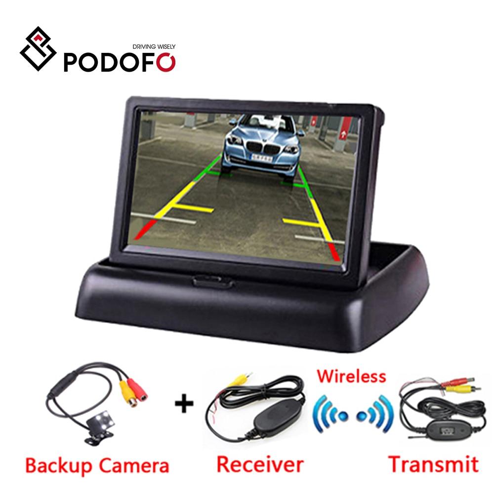 Podofo-moniteur de voiture LCD TFT   4.3 pouces, écran pliable, caméra inversée, système de stationnement, moniteurs de rétroviseur de voiture, NTSC PAL