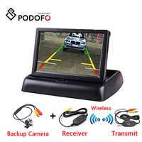 Podofo 4,3 pulgadas TFT LCD Monitor de coche pantalla plegable Cámara inversa sistema de aparcamiento para monitores retrovisores de coche NTSC PAL