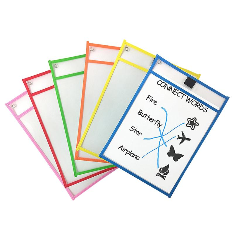 12pcs Children Dry Erase File Pockets Assorted Colors Document Pouches Stationery Supplies For Office School