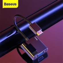 Baseus Cable HDMI a VGA 4K adaptador USB VGA a HDMI conector VGA 3,5mm convertidor de Video de Audio Aux divisor para PC portátil caja de TV PS4