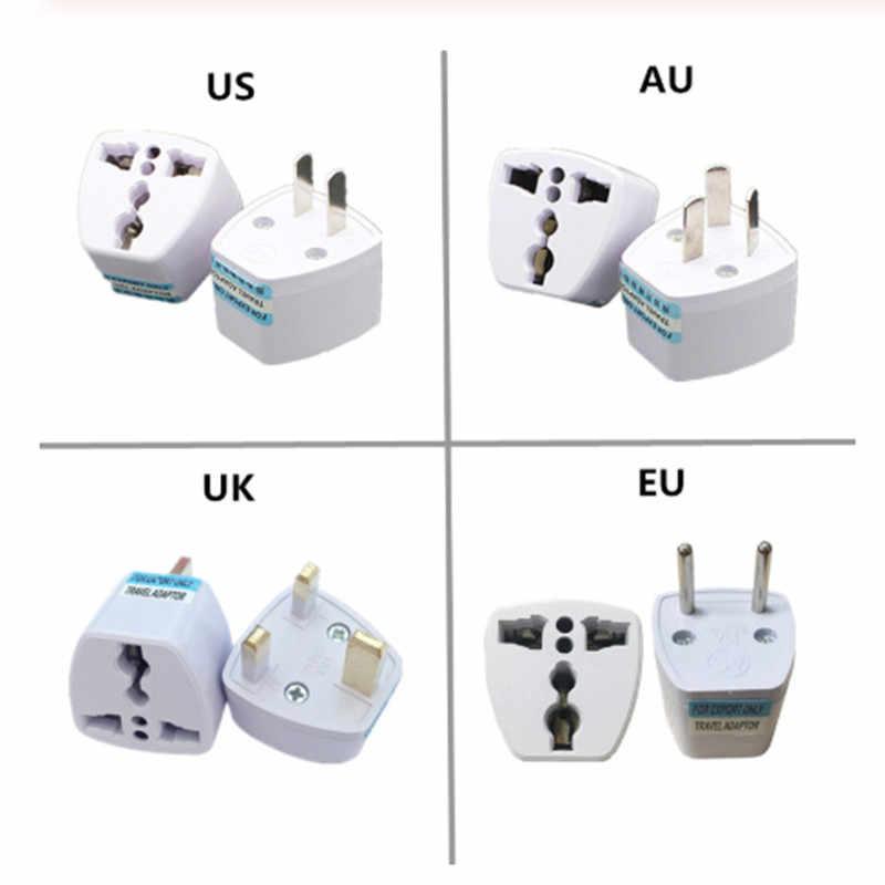 1 Máy Tính Đa Năng Hoa Kỳ Anh AU EU Cắm USA Euro Châu Âu Du Lịch Treo Tường AC Sạc Ổ Cắm Adapter bộ Chuyển Đổi 2 Vòng Ổ Cắm Pin