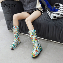 BYQDY Retro Fashion Autumn Winter Prom Boots Flowers Platform Wedges Mid Calf Round Toe Shoes Party Mothers Footwear