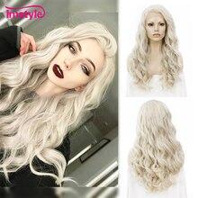 Imstyle pelucas frontales de encaje rubio ceniza para mujer, pelo sintético, largo ondulado, Cosplay, fibra resistente al calor, sin pegamento, 24 pulgadas