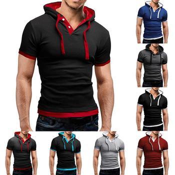 Plus Size Stylish Men False Two Pieces Hoodies Slim Fitness Short Sleeve Hooded Sweatshirt