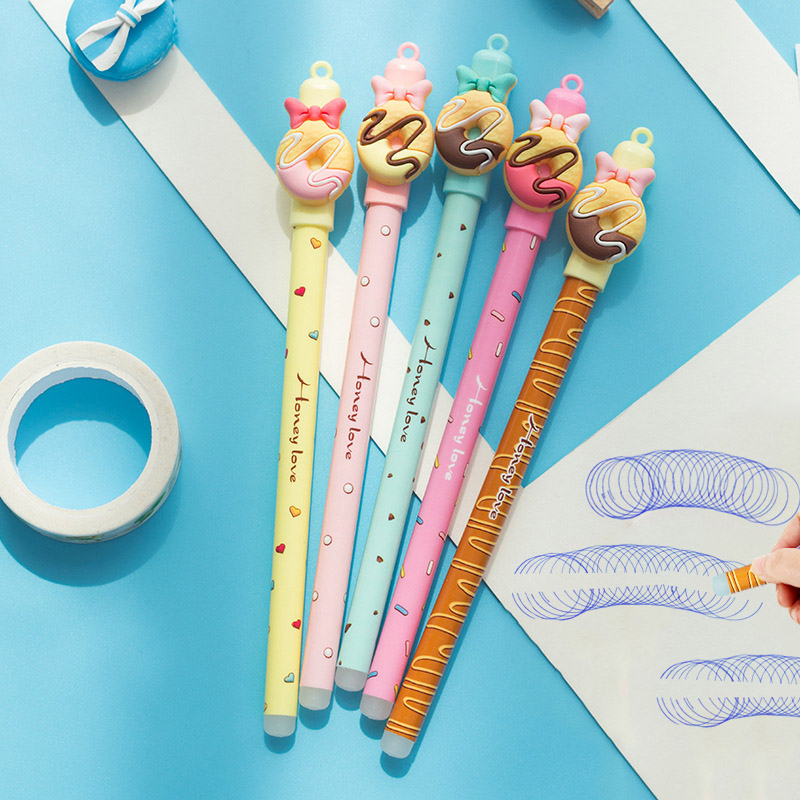0.5mm Cute Donuts Ballpoint Pen Novelty Erasable Blue Ink Ball Pens For Kids Girls Gift Writing School Supplies Stationery