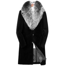 Fur Coat Clothing Winter Jacket Sheep Shearling Plus-Size Real Men Long Wool Fox-Fur-Collar