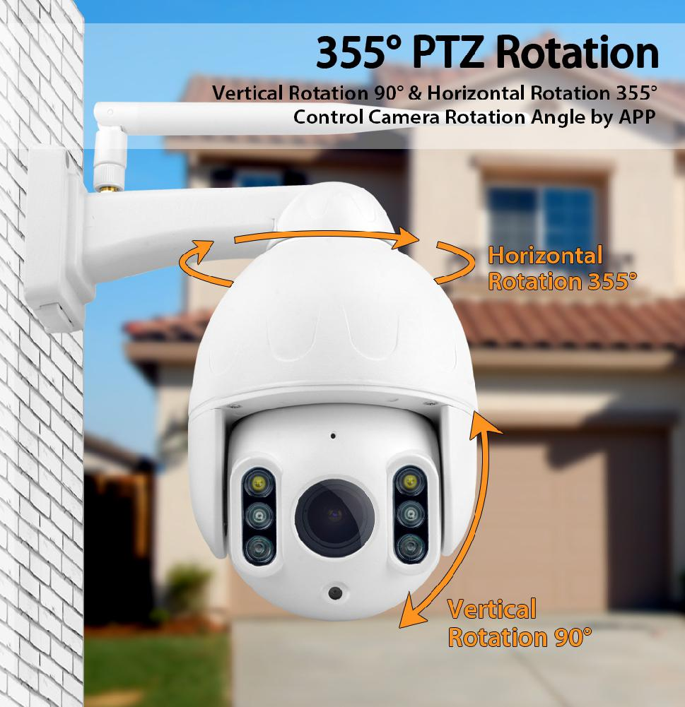 1080P PTZ 16X Zoom FHD Face Detection Auto Tracking WiFi Wireless Two-way Audio IP Camera CCTV Speed Dome Outdoor SD Card IR 50M