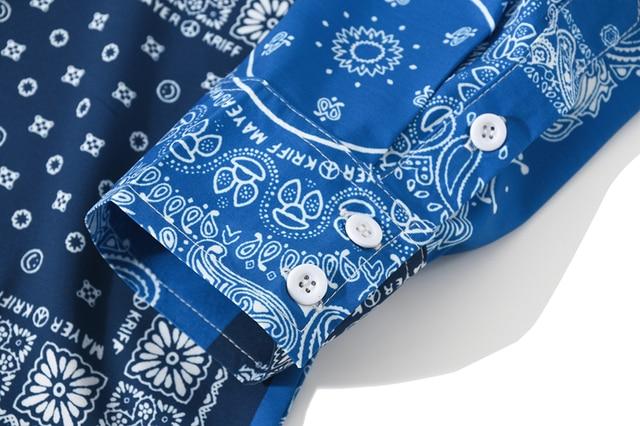 [EWQ] 2021 Spring Nw Blue Bandana Shirt  Print Retro Turn-down Collar Street Shirt Long Sleeved Casual Shirts Blouse Plus Size 5