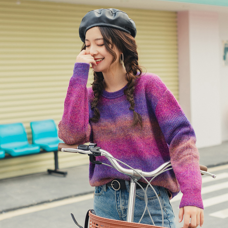 INMAN 2020 Spring New Arrival O-Neck Dropped Shoulder Color Gradual Change Loose Style Knit-wear Pullover Sweater