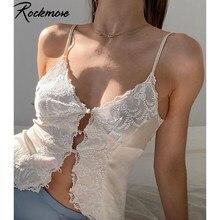 Rockmore koronkowe drążą seksowne topy kobiety głęboki dekolt Camis zapinana Y2K estetyczny Top typu Crop Tank Casual Night Club paski Spaghetti
