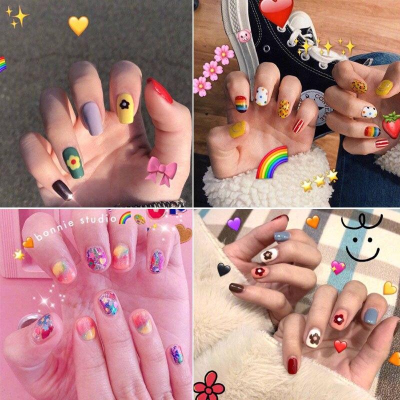 Cartoon False Nails Strawberry Fake Nails With Glue Detachable Artificial Tips Set Girls Nail Art Press On Fake Nails Extension