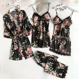 Women Satin Wedding Sleepwear Suit Spring Lace Trim Pajama Pyjama Set Print Floral Nightwear Casual Home Wear Lingerie Suit