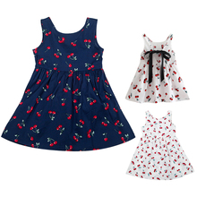 Fashion Cherry 3Y-7Y Cotton Baby Girl  Cute Vest  Dress Princess Casual Clothes Kid Vestido Dress beautiful carnation flower vest dress runway vintage key dress vestidos infantis baby girl clothes 8002