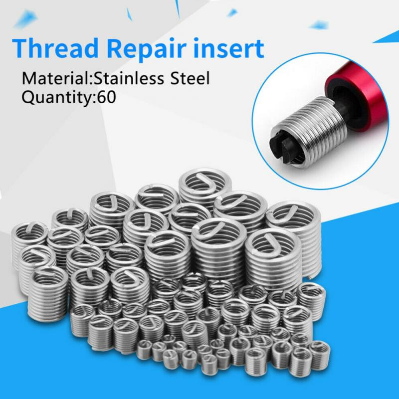 60pcs M3-M12 Thread Repair Insert Kit Set Silver Stainless Steel For Hardware Repair Tools