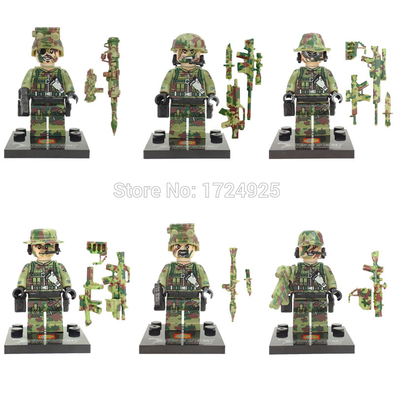 Hot Sale 6pcs/lot SWAT Military Figure Set PUBG Weapon Building Blocks Sets Model Bricks Education Toys SY11101 Legoing