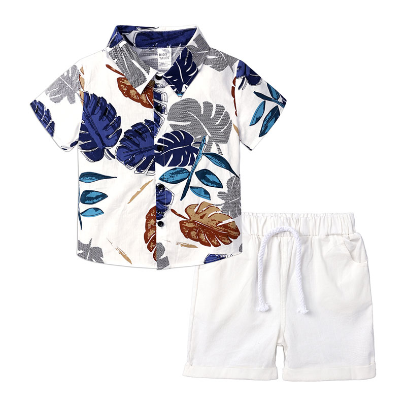 Summer Kids Boys Clothing Casual Children Boy Clothes Set Short Sleeve Shirt+White Shorts 2 PCS Children Costume 2-6 Years