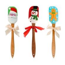 Силиконовая лопатка в виде снеговика с деревянными ручками, кухонная посуда для выпечки и приготовления пищи-Рождественский подарок