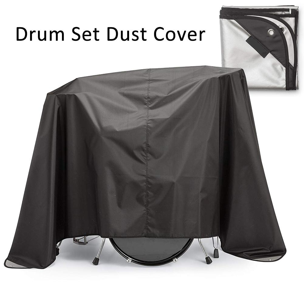 Drum Dust Cover Weighted Corners Waterproof Musical Instrument Dust Cover Silver Acrylic Coating Protects