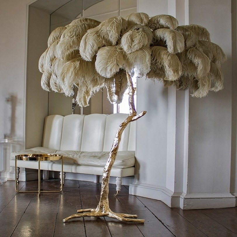 Creative Feather Resin Palm Tree Floor Lamp Tripot Free Standing Lamps For Living Room Home Decor Tree Postmodern Floor Lamp E14