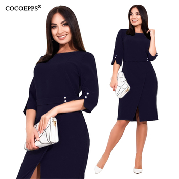 COCOEPPS Plus Size women dress Summer 5XL 6XL New Autumn Casual Office Lady vestidos Female Dresses Elegant Bodycon Party Dress
