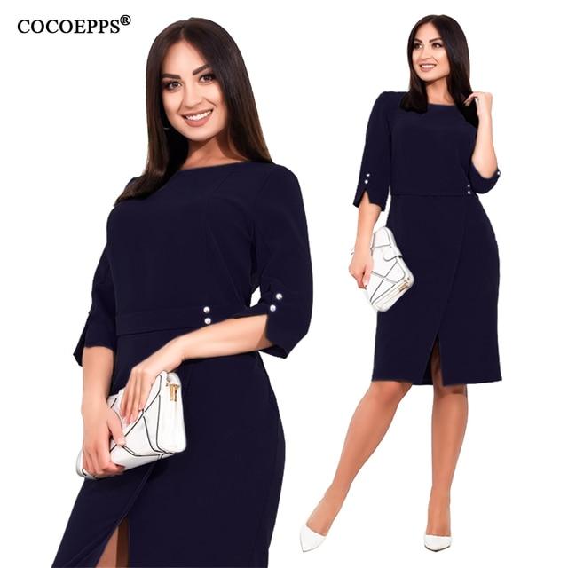 COCOEPPS Plus Size women dress Summer 5XL 6XL New Autumn Casual Office Lady vestidos Female Dresses Elegant Bodycon Party Dress