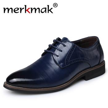 Merkmak Big Size 37-48 oksfordzie skórzane buty męskie moda Casual Pointed Top formalne biznes mężczyzna suknia ślubna mieszkania hurtowni tanie i dobre opinie Prawdziwej skóry Skóra bydlęca RUBBER men leather shoes fashion men shoes casual shoes Lace-up Pasuje prawda na wymiar weź swój normalny rozmiar