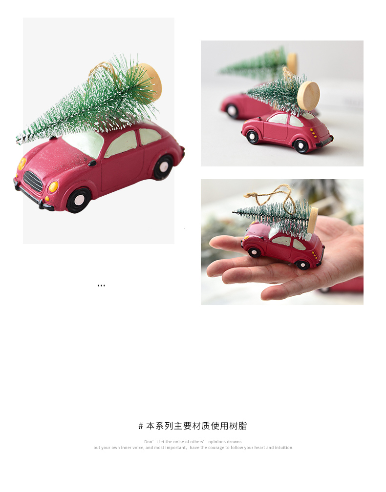 Resin American Mini Car Pull Christmas Tree Desktop Small Ornaments Christmas Decorations Pendant Xmax Ornament QW248 (5)
