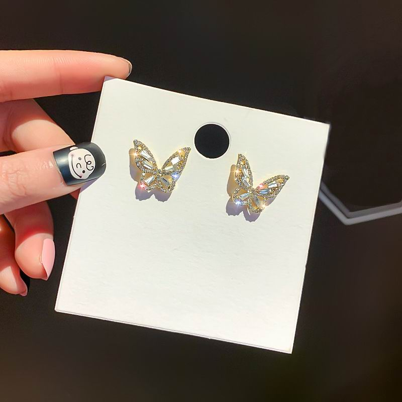 Simple Butterfly Stud Earrings With Rhinestones 2020 New Fashion Jewelry Elegant Pendientes Gifts