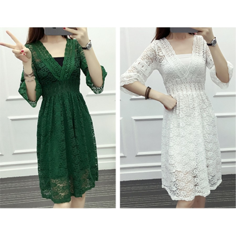 BGW Fashion V-neck Lace Cocktail Dresses Cut Out Three Quarters Sleeve Prom Party Cheap Dress Green White Vestido Cocktail