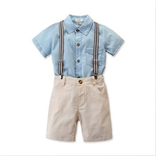 Formal Kids Clothes Toddler Boys Clothing Set Summer Children Suit Shorts Children Shirt with Collar Wedding Party Costume D30 acthink new boys summer formal 3pcs shirt shorts waistcoat suit children england style wedding suit with bowtie for boys zc033