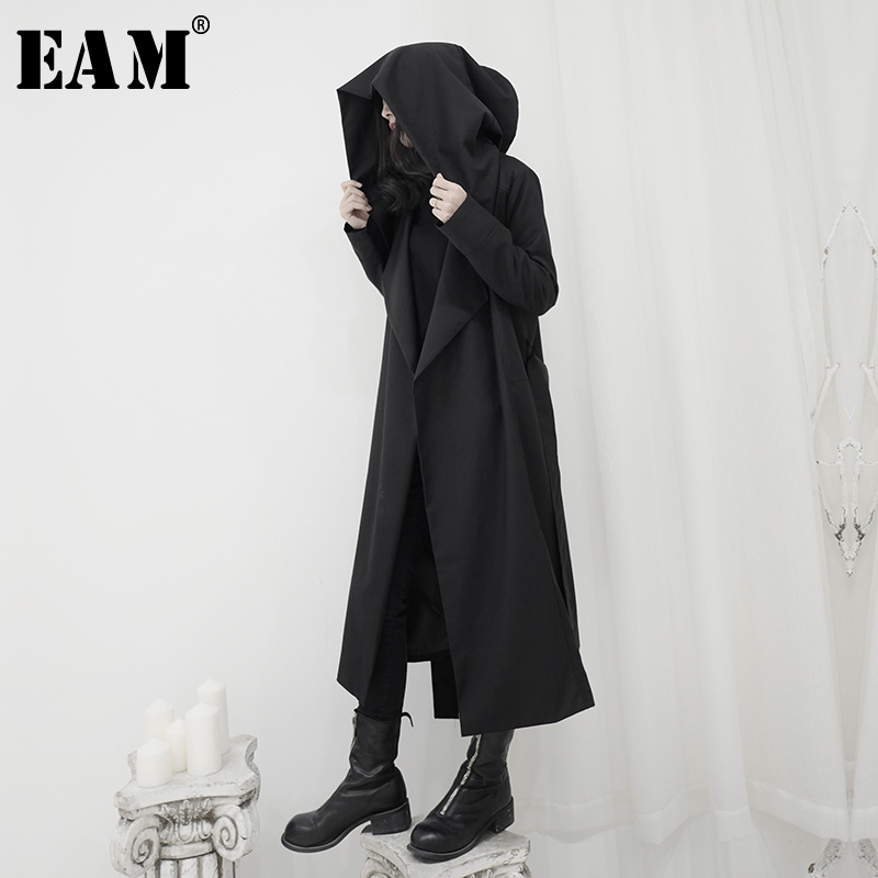 [EAM] Women Black Brief Long Big Size Trench New Hooded Long Sleeve Loose Fit Windbreaker Fashion Tide Spring 2020 1S244