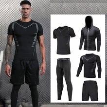 Ajuste seco conjunto de roupas esportivas ginásio fitness compressão esporte terno jogging apertadas roupas esportivas 3xl masculino de grandes dimensões
