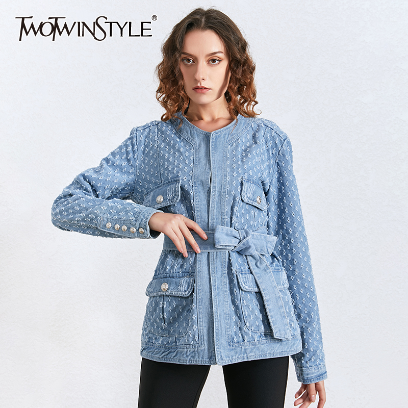 TWOTWINSTYLE Denim Hollow Out Tassel Women's Jacket O Neck Long Sleeve With Sashes Slim Female Coat Spring Fashion New 2020