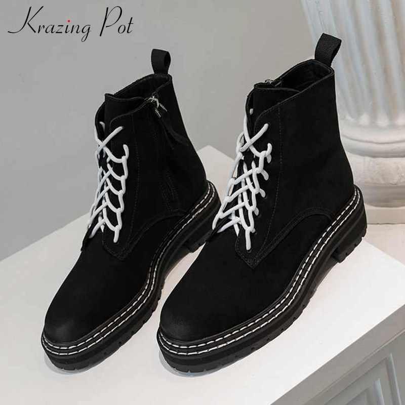 Krazing หม้อ Preppy HOT สไตล์ Breathable COW หนังนิ่มรอบ Toe ส้นฤดูหนาวผู้หญิง LACE UP แฟชั่นข้อเท้ารองเท้า L18
