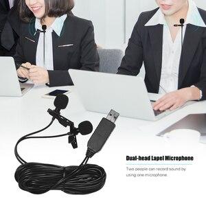 Image 3 - 6m 4.5m 1.5m USB כפול ראש Lavalier דש מיקרופון קליפ על Omnidirectional מחשב מיקרופון עבור windows Mac וידאו אודיו הקלטה