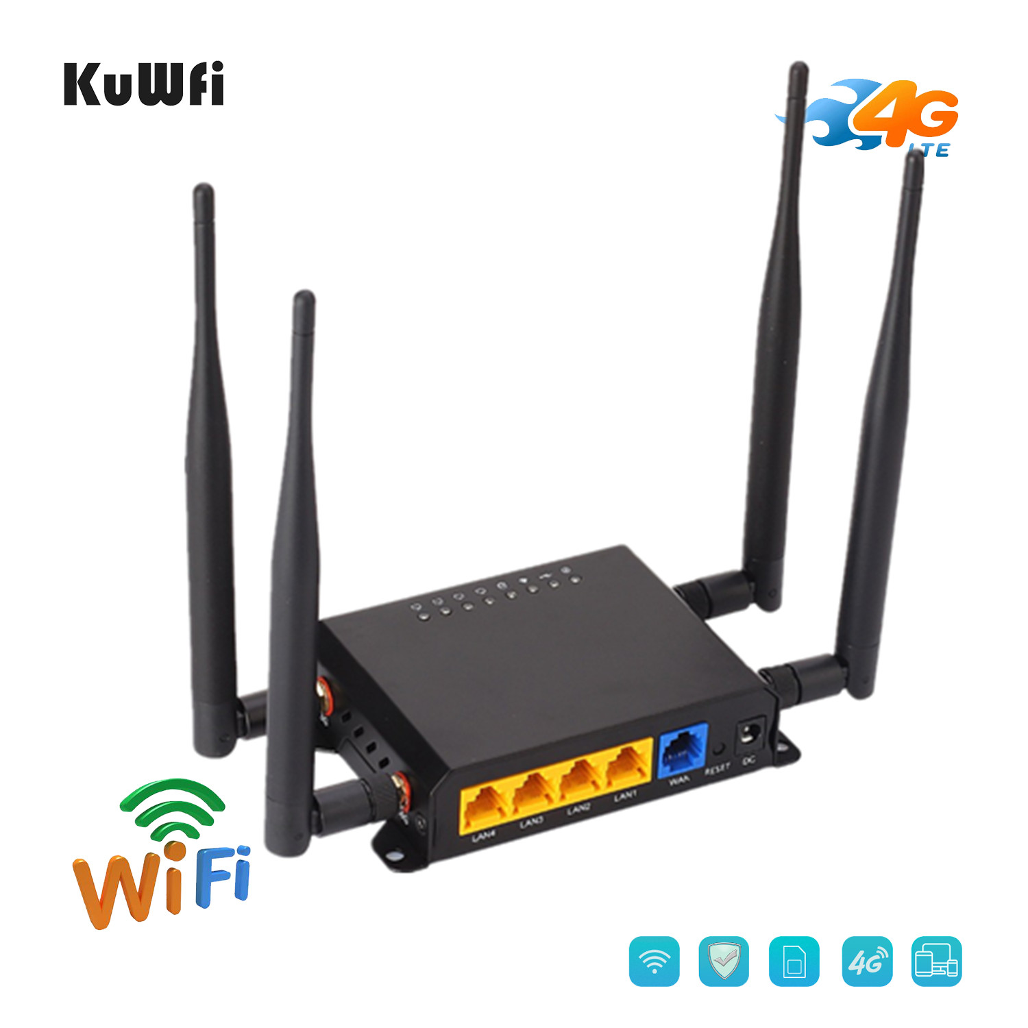 KuWfi Original 300Mbps Wireless Router CAT6 4G LTE CPE Uklocked FDD/TDD SIM Card Router With 4G Modem Up To 32Wifi Users