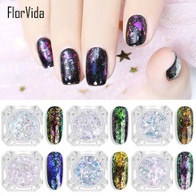 FlorVida 2ml Nail Art Glitter Powder Chameleon Laser Chrome Pigment Mirror Flake Thin Slice Foil Decorations