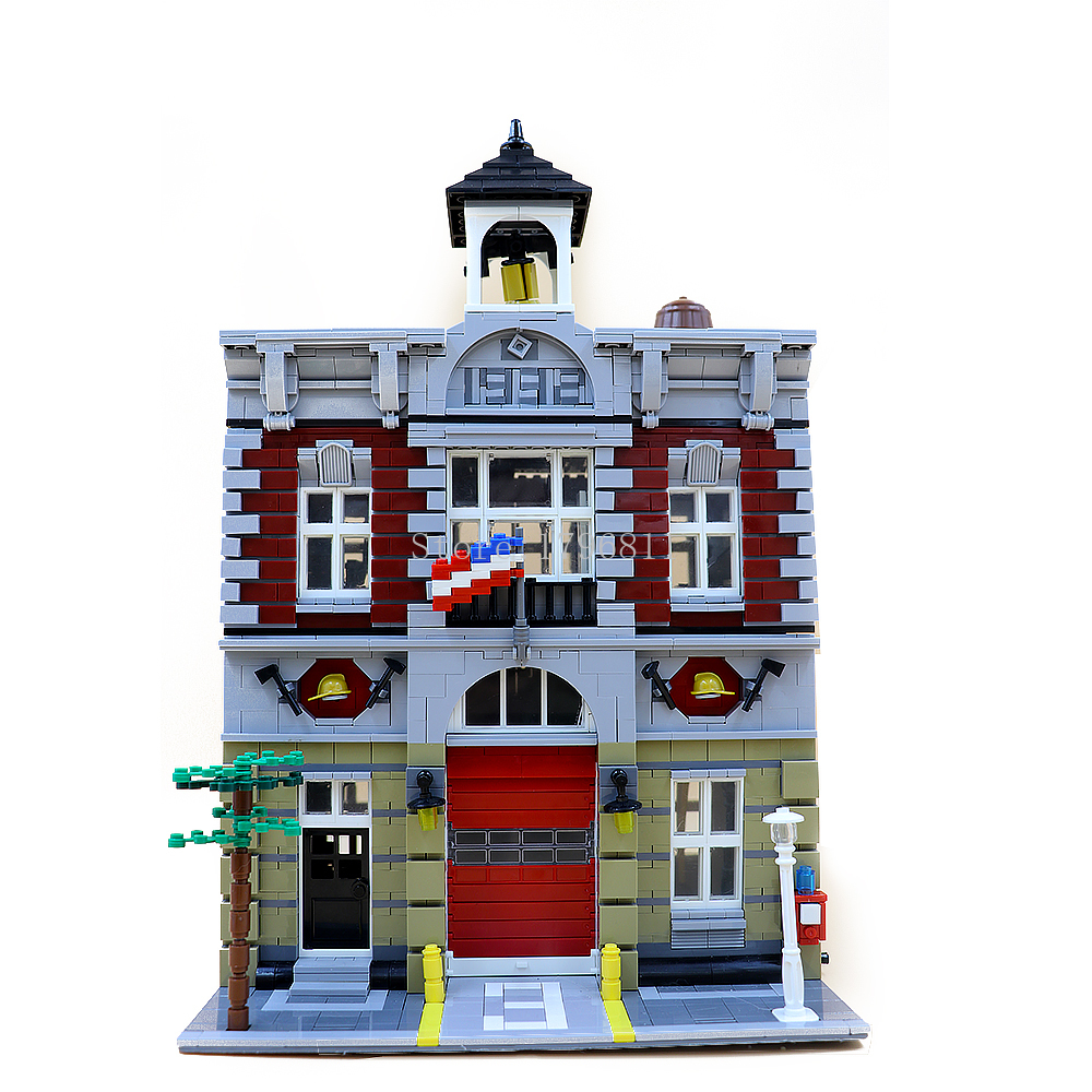 15004 Creator Street View Series Fire Brigade Building Blocks Bricks set Children's Christmas gift Compatible Creator <font><b>10197</b></font> image