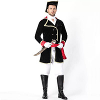 Adult Men Halloween Knight Solider Pirate Captain Costume Black Jacket Hat Set Cavalier Uniform Cosplay Cool Outfit For Men
