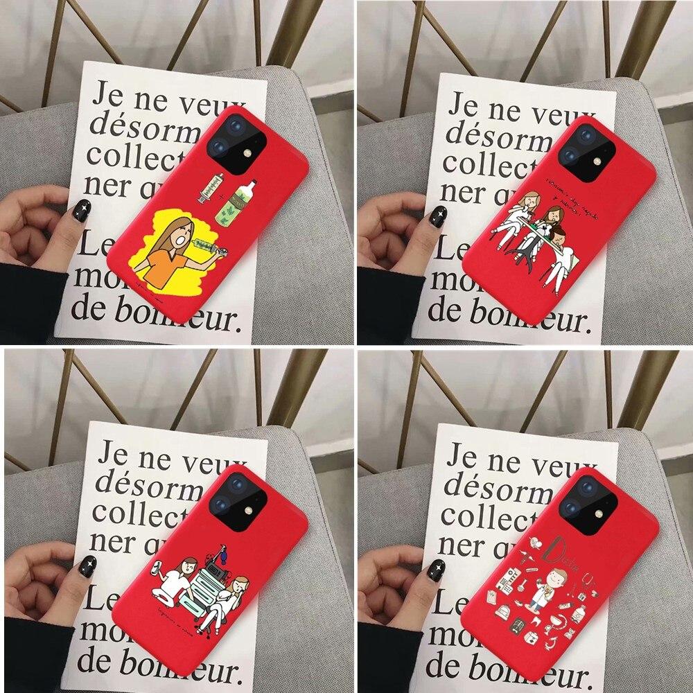 Cubierta de teléfono de silicona suave de TPU rojo mate para iPhone11 Pro MAX 6s 7 8 X XR XSMAX
