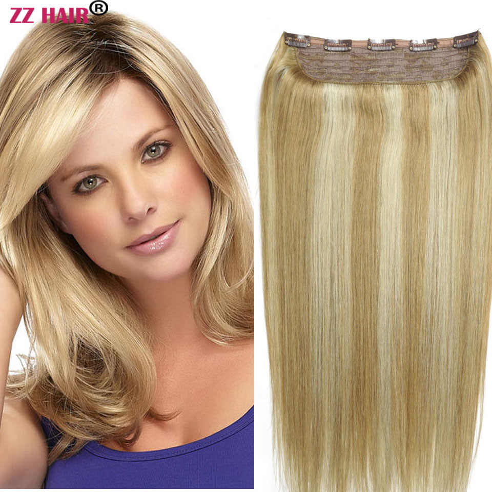 "ZZHAIR 140g 16""-28""Machine Made Remy Hair One Piece Set 5 Clips in 100% Brazilian Human Hair Extensions 1pcs Natural Straight"