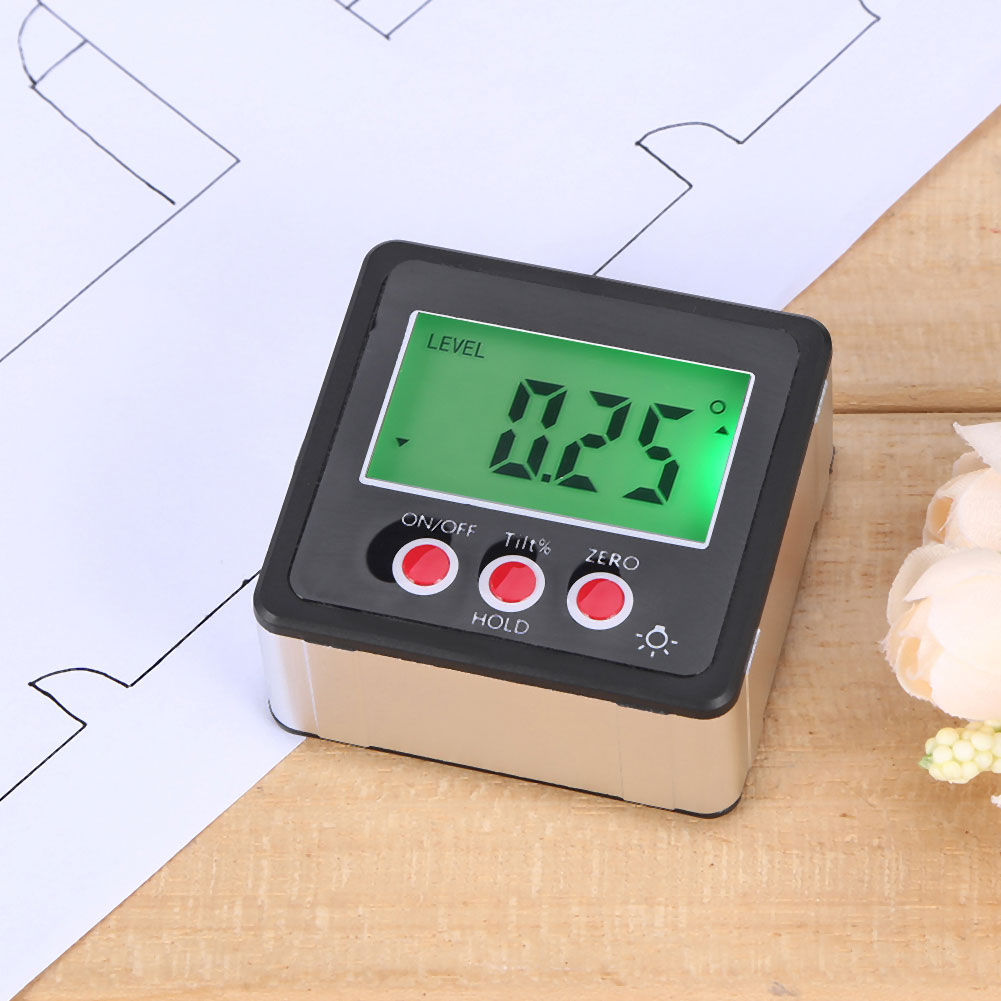 Portable Digital Protractor Inclinometer Gauge LCD Green Backlight Display Waterproof Angle Finder Bevel Box With Magnet Base