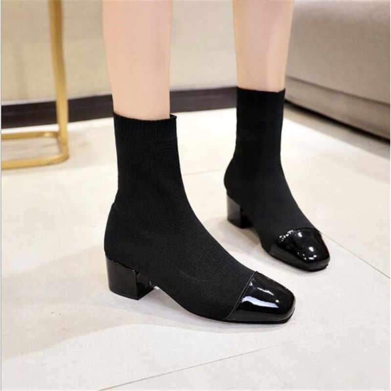 Yeni Kadın yüksek topuklu ayakkabı Kayma yarım çizmeler kış Streç çorap çizmeler zarif Kare yüksek topuklu ayakkabı kadın