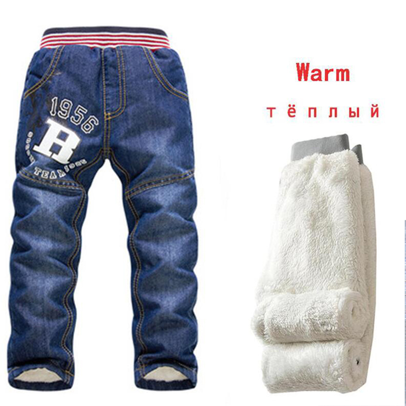 Kids Jeans Pants Trousers Autumn Baby-Boys Winter Casual Warm Thicking 2-7Y