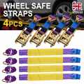 For Car Interior Accessories 4pcs Car Trailer Transporter Recovery Ratchet Alloy Wheel Safe Straps Set Purple 5000kg Breakstrain