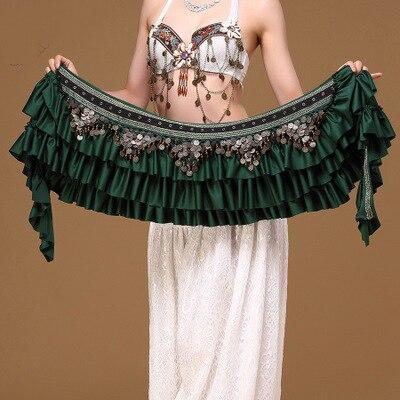 Танец живота поясная цепь Ретро атласная медная монета хип шарф громкий удлиненный шарф племенной пояс - Цвет: Серый