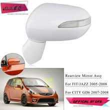 ZUK Outer Rearview Mirror Exterior Rear View Mirror For HONDA FIT JAZZ CITY 2003-2008 5-PINS Electric Angle Adjust + LED Lamp