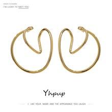Ear-Clip Simple Earrings Gold Yhpup Jewelry-Accessories Geometric-Ear-Bone Metal Minimalist